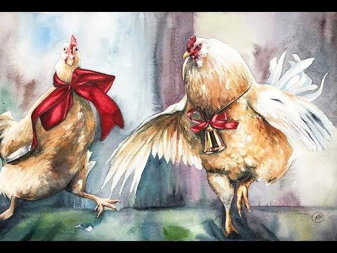 Dancing Chickens in Watercolors Painting Tutorial