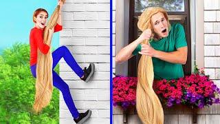 24 часа челлендж с очень длинными волосами!