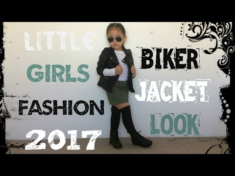 Little Girls Biker Jacket Look 2017 Fashion Clothes Outfit For Kids/Toddlers