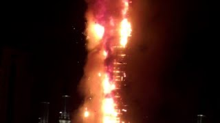 Stunning video: Blaze engulfs skyscraper in Chechnya