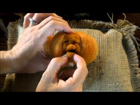 Needle Felted Pumpkin Tutorial 2: The Face by Sarafina Fiber Art