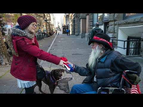 A Homeless Woman Shows Us Why It Feels Good to Give.