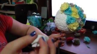 Топиарий из салфеток, своими руками(В этом видео мы покажем как сделать шар для топиария из пенопласта, легко и просто. В качестве цветов будут..., 2016-03-20T00:18:10.000Z)