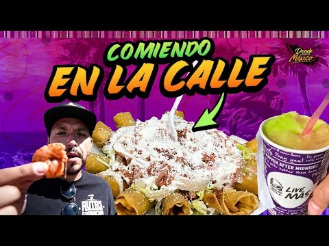 Así COMEN en TIJUANA en la CALLE 🥩 Comida Barata: Tostiaguachiles, Donas & Flautas