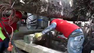 Time Lapse of a House With a Slab Foundation Being Raised