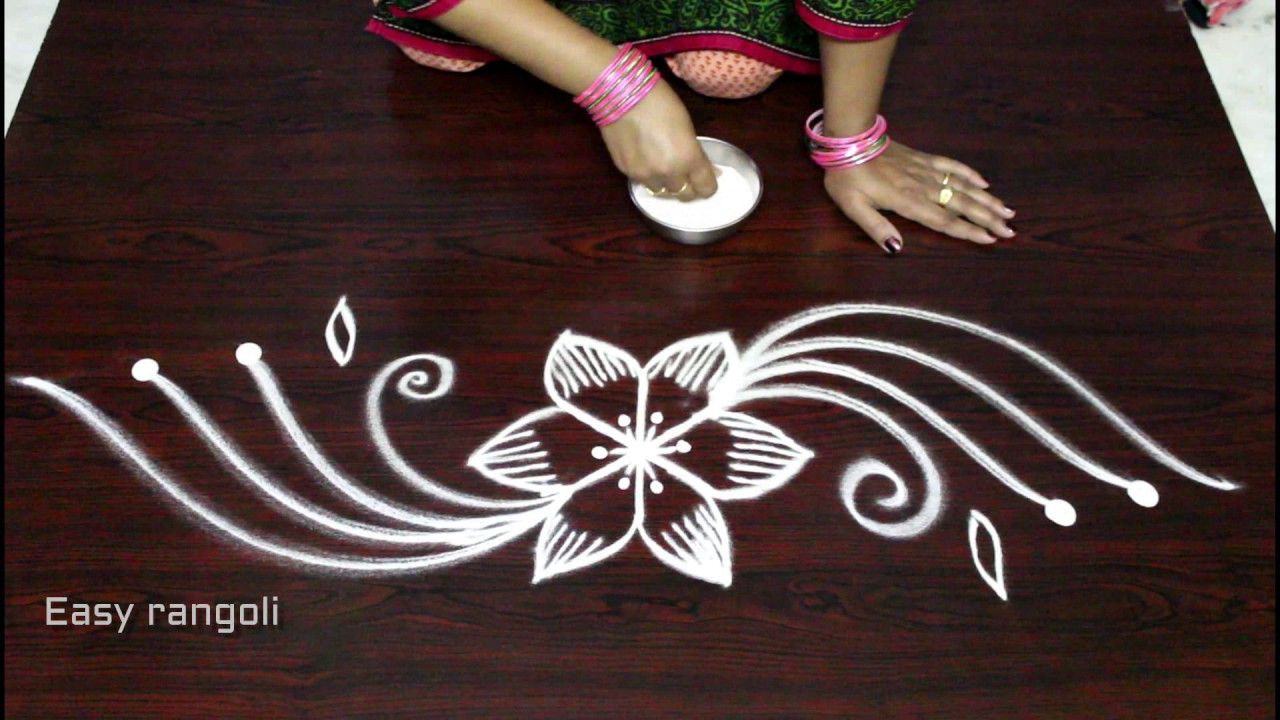 creative and easy rangoli side designs muggulu side designs side designs for kolam youtube. Black Bedroom Furniture Sets. Home Design Ideas