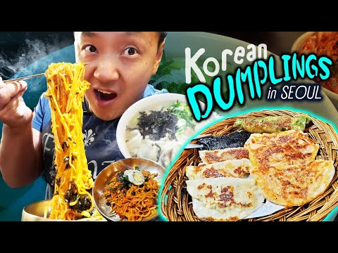 Korean Kimchi DUMPLINGS & SEAFOOD NOODLES | Tour Of Ikseon-dong Seoul South Korea