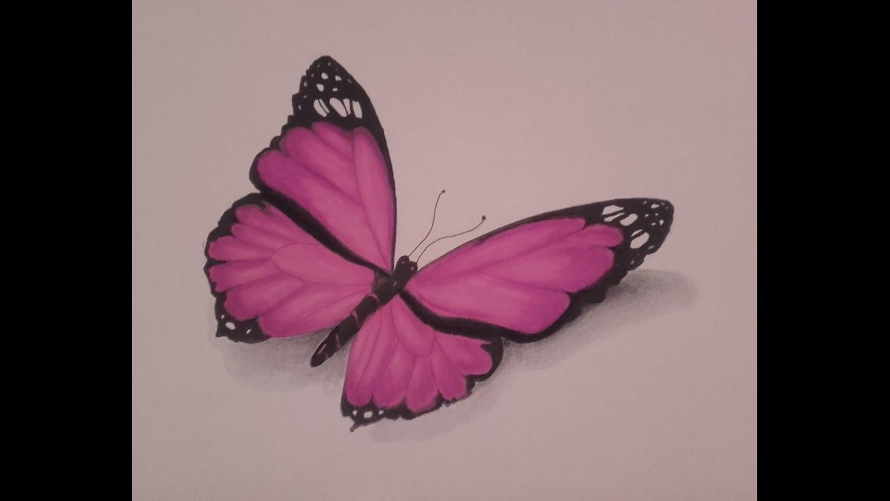 Dessiner un papillon promarker et pastel sec speed drawing youtube - Dessine un papillon ...