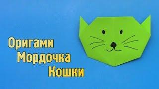 Как сделать из бумаги мордочку кошки своими руками (Оригами для детей)