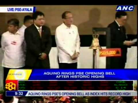 President Aquino Rings The PSE Opening Bell As PSE Index Hits Historic Highs