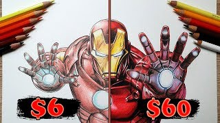 $6 vs $60 COLOR PENCIL ART   Cheap VS Expensive!! Which is WORTH IT?