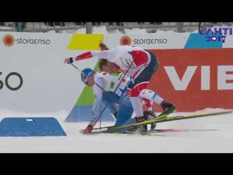 1st - 2nd place crash - Men's Team Sprint - FIS 2017 Nordic World Ski Championships - Lahti, Finland