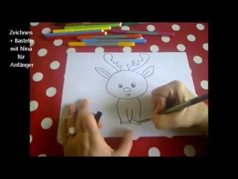 Cartoon Hirsch zeichnen.  Zeichnen lernen für Anfänger und Kinder