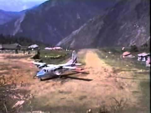 Plane landing at Lukla Airstip in the Khumbu, Nepal