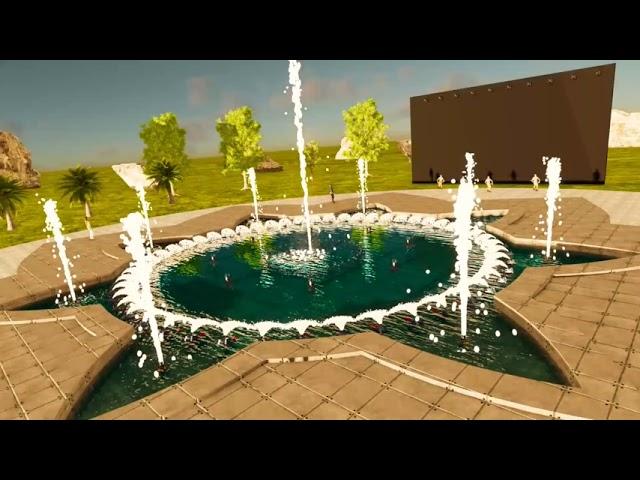 Mô hình đài phun nước nhạc nước hình cánh hoa - Musical fountain model