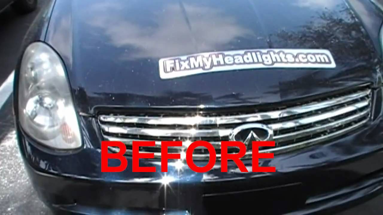 Infinity G35 Cloudy Headlights Restore By Headlight Restoration Service  Weston Florida