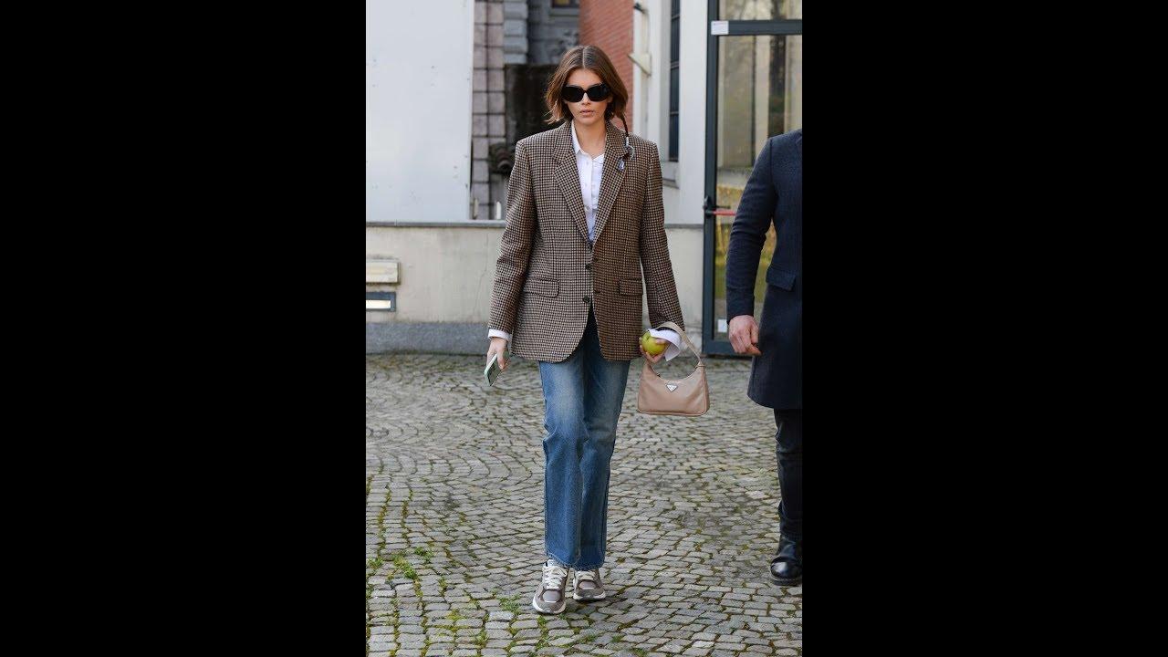 Kaia Gerber – Wears oversized blazer during Milan Fashion Week Fall-Winter 2020-2021