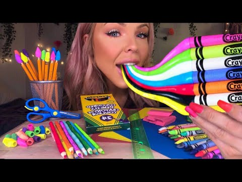 ASMR EATING EDIBLE SCHOOL SUPPLIES (PRANK) SNEAK CANDY INTO CLASS! MOST SATISFYING EATING SOUNDS