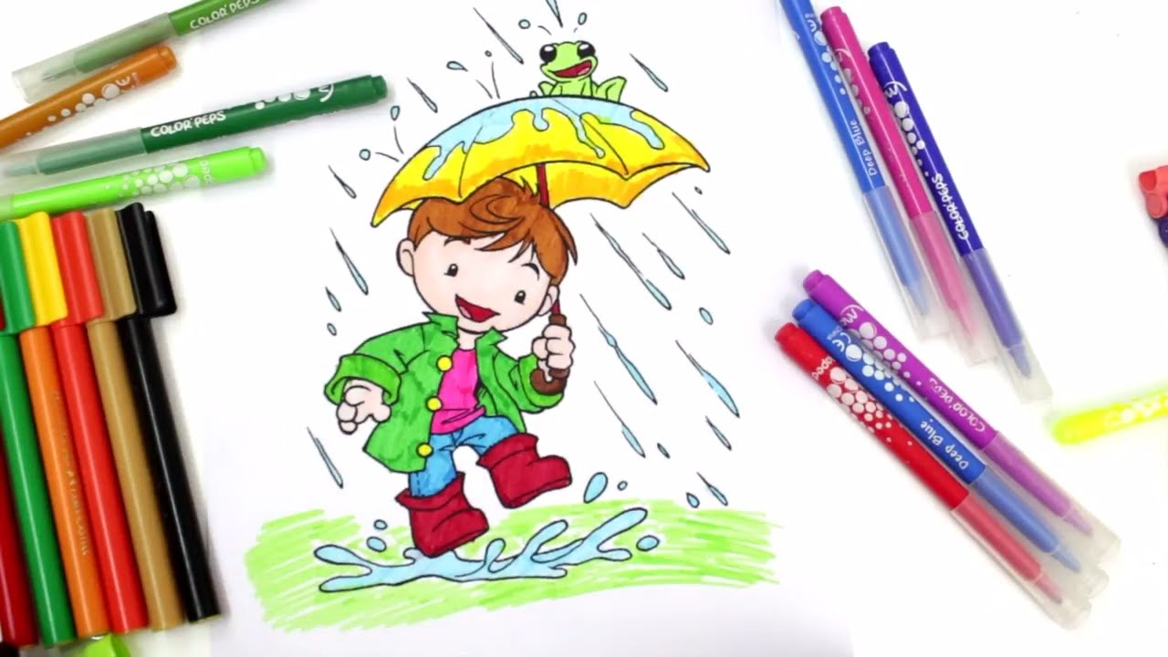 coloring kid playing in the rain rain play coloring pages for