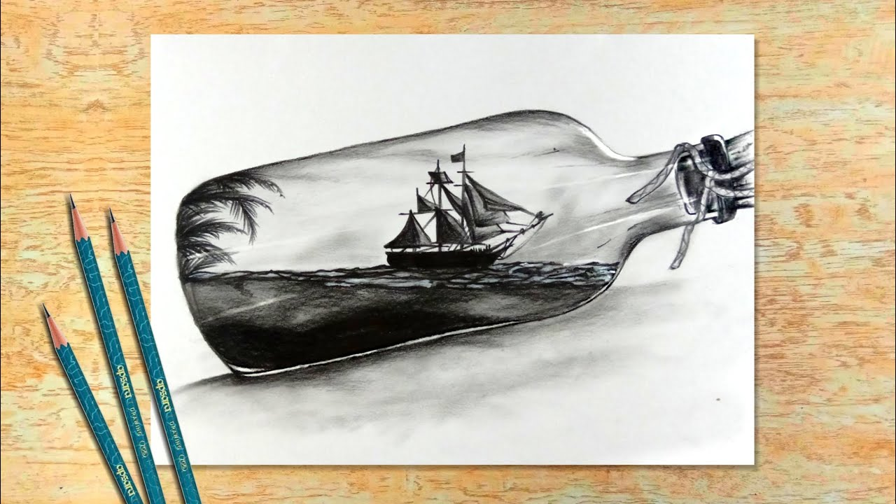 Scenery Inside The Bottle Easy Drawing For Beginners Pencil Drawing Creative Art Sketch 21 Youtube