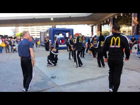 Dancers outside the Smoothie King Center.