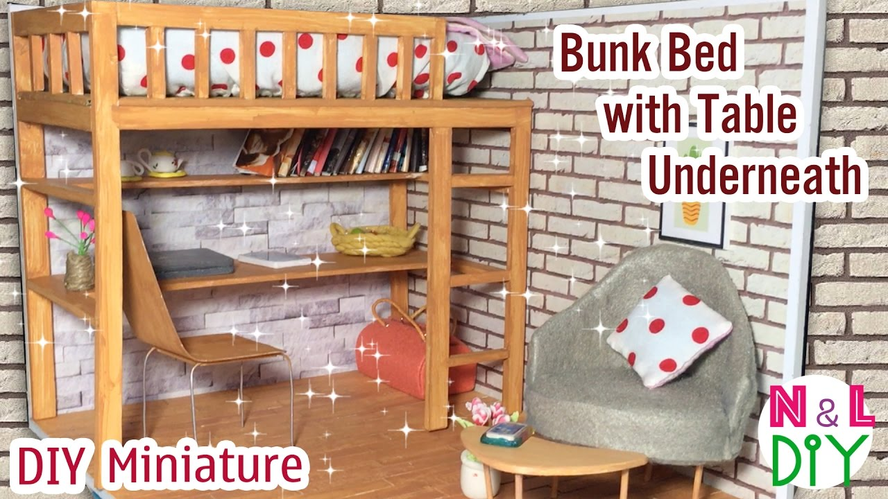 Diy Miniature Bunk Bed With Table Underneath Dollhouse Youtube
