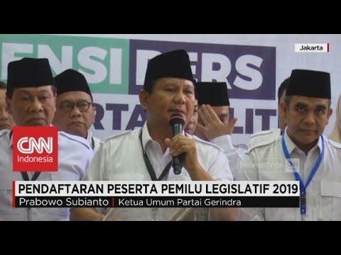 Prabowo Datangi KPU, Kawal Pendaftaran Pemilu Legislatif 2019