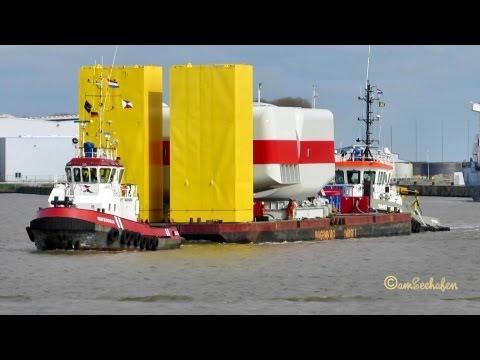 Schlepper tug Watergeus IMO 9110860 Smit Barracuda IMO 9345506 Wagenborg Barge 1 Schleppverbund
