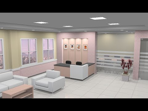 Sketchup Interior design ( Waiting room ) - YouTube