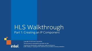 HLS Walkthrough Part 1: Creating an IP Component