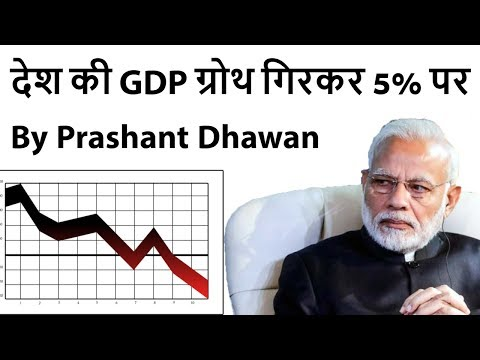 India's GDP growth slips to 6-year low of 5% देश की GDP ग्रोथ गिरकर 5% पर Current Affairs 2019