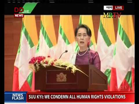 Myanmar's State Counsellor Aung San Suu Kyi addresses media in Myanmar