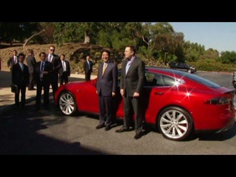 Tesla CEO Elon Musk Takes Japan's Shinzo Abe for a Ride in Model S