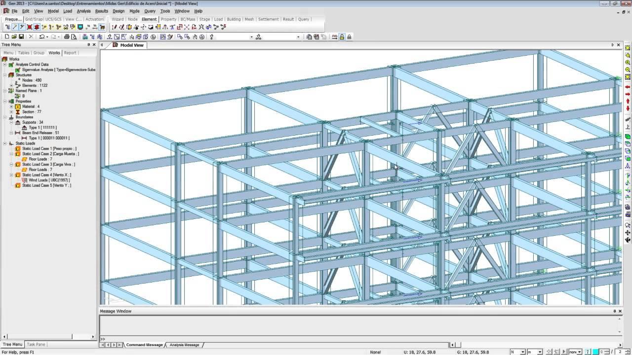 Midas gen dise o de edificio de acero youtube for Diseno de edificios