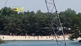 Aankomst Lifeliner3 traumaheli op strand Kempervennen Westerhoven [reanimatie]