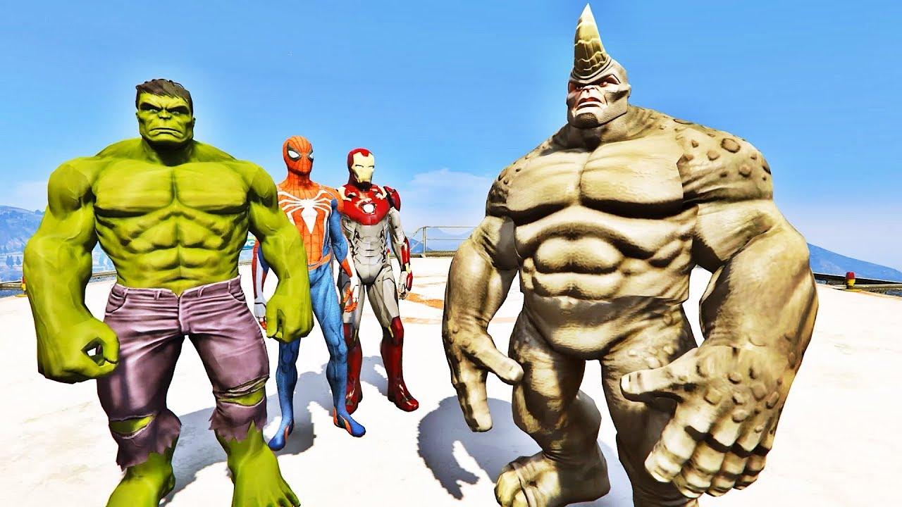 Hulk Homem Aranha E Homem De Ferro Vs Rhino Gta V Mods Ir