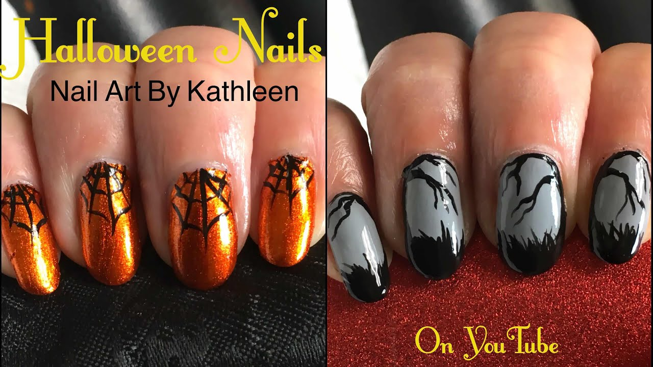 Easy Halloween Nail Art - 2 Freehand Designs For Beginners - YouTube