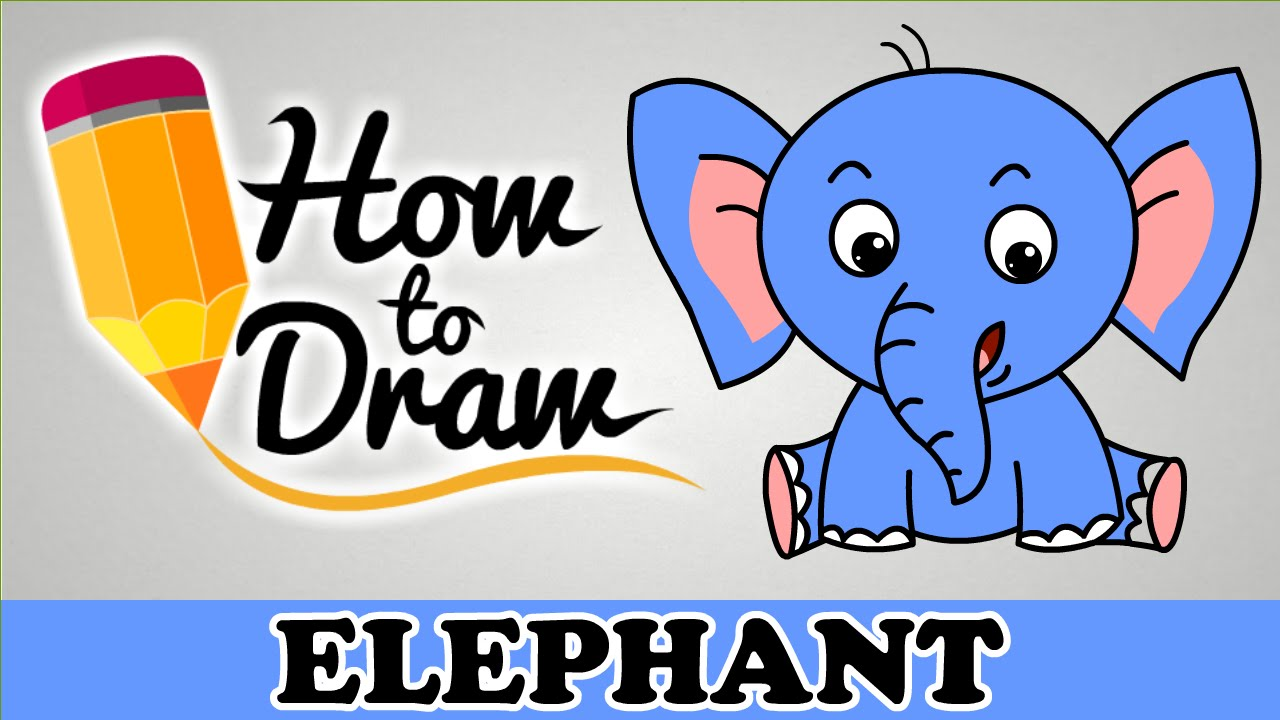 how to draw a elephant easy step by step cartoon art drawing lesson tutorial for kids beginners - Cartoon Kids Drawing