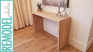 Build a Waterfall Console Table from One Sheet of Plywood #plywoodpretty