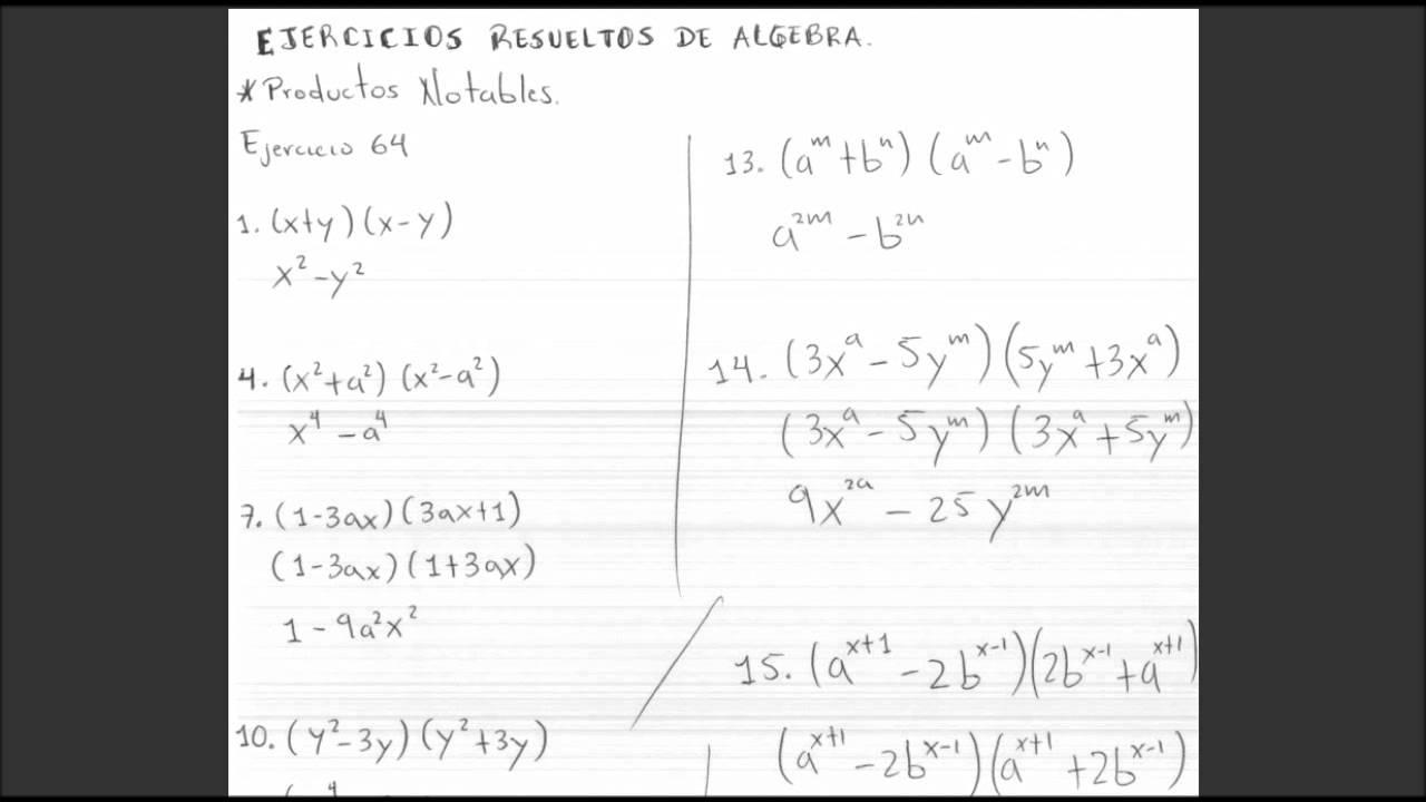 EJERCICIOS RESUELTOS DE ÁLGEBRA EJERCICIO 64 DE PRODUCTOS Y COCIENTES NOTABLES - YouTube