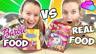 REAL FOOD VS BARBIE FOOD Challenge - Nina VS Kathi Wer kriegt ECHTES ESSEN & wer PUPPEN NAHRUNG?