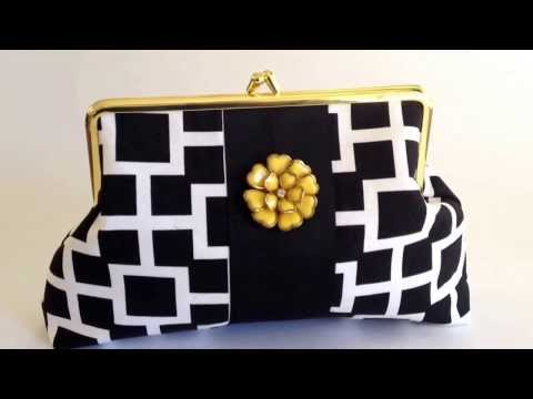 Black and White Designer  Clutch Purse with Yellow Flower
