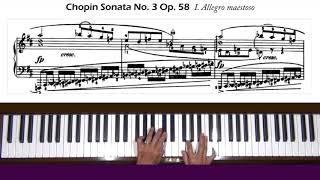 Chopin Sonata No. 3 Op. 58 in B minor Allegro mvt Piano Tutorial Part 1  (pp.1&2 of 11)