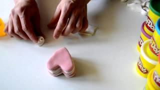 тортик из соленого теста с розочкой для кукол дочки.