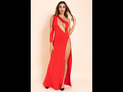Sexy Hollow One Shoulder High Split Stretch Dress Wholesale SKU A28278