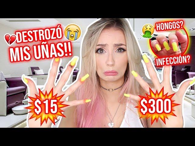 ME HICE LAS UÑAS MÁS BARATAS vs CARAS!!!😱 QUE HORROR!!😖 | Katie Angel