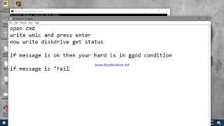 How to Check Hard drive Health or status through command prompt