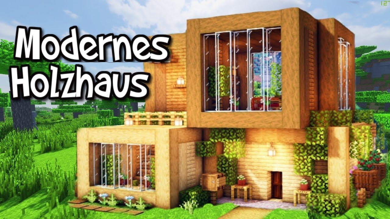 Modernes Holzhaus bauen in Minecraft - Minecraft Modernes Haus aus Holz bauen (einfach)
