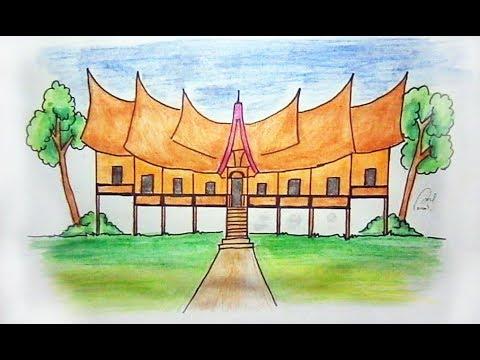 Cara menggambar rumah adat padang Minangkabau (rumah gadang)