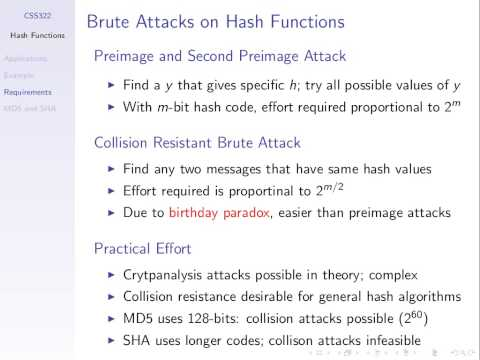 CSS322, Lecture 19, 18 Jan 2013 - Hash Functions
